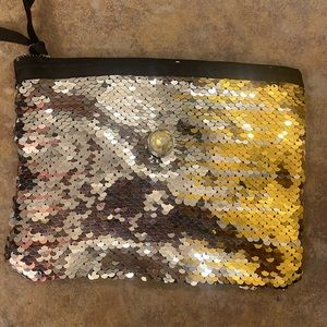 Makeup Bag gold & silver sequined w/Jamberry snap